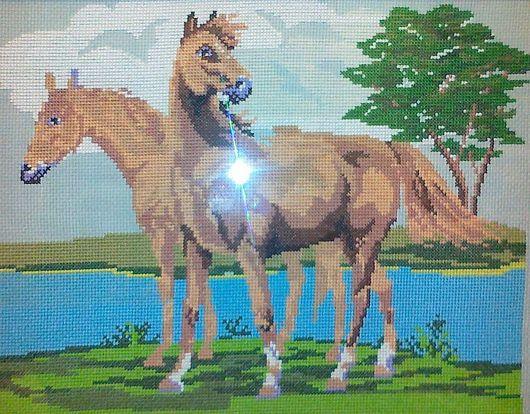 """Животные ручной работы. Ярмарка Мастеров - ручная работа. Купить Вышитая картина """"Лошади"""". Handmade. Белый, мулине, вышивка"""