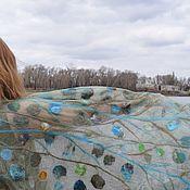 Scarves handmade. Livemaster - original item Olive felted scarf on silk Fine handmade silk stole. Handmade.