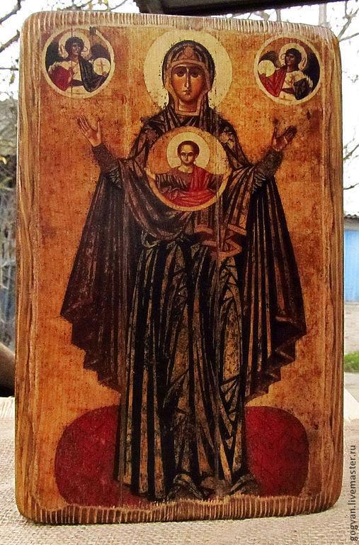 Икона на дереве ручной работы Богоматерь Оранта изготавливается вручную на дереве