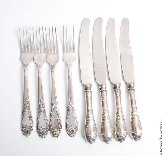 Винтажная посуда. Ярмарка Мастеров - ручная работа. Купить 8 шт. Набор столовых проборов ножи, вилки мельхиор винтаж. Handmade.