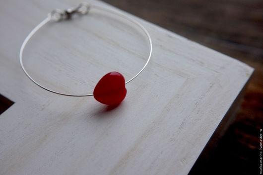 """Браслеты ручной работы. Ярмарка Мастеров - ручная работа. Купить Браслет с камнем """"Рубиновое Сердце"""". Handmade. Бралсет, украшения с сердцем"""