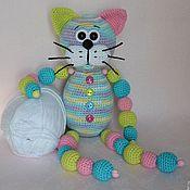 Куклы и игрушки handmade. Livemaster - original item The cat Is gentle with beads toy crochet. Handmade.