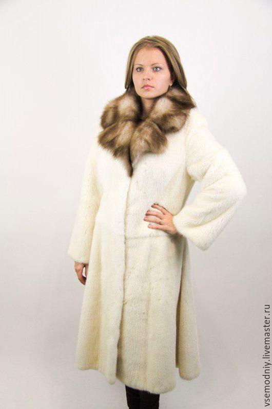 Верхняя одежда ручной работы. Ярмарка Мастеров - ручная работа. Купить Норковое пальто из белой норки. Handmade. Шуба из норки