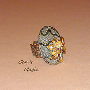 Украшения handmade. Livemaster - original item Ring of Ammonite Golden Lotus. Handmade.