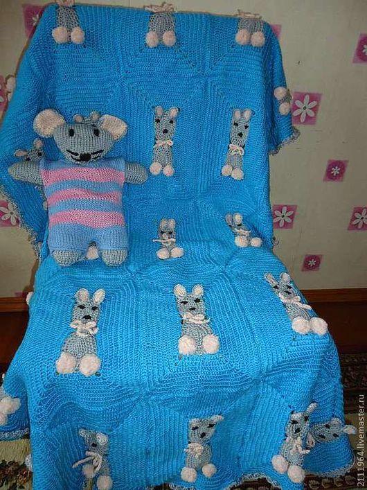 Пледы и одеяла ручной работы. Ярмарка Мастеров - ручная работа. Купить плед для мальчика мышонок,игрушка -сплюшка мышонок. Handmade.