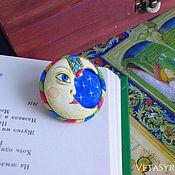 Украшения handmade. Livemaster - original item Crescent brooch hand painted. Handmade.