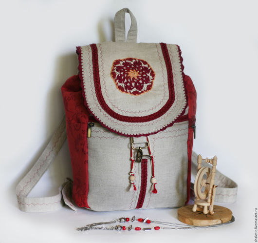 Рюкзак льняной на лето, женский рюкзак для прогулок, оригинальные сумки и рюкзаки ручной работы, автор Юлия Льняная сказка