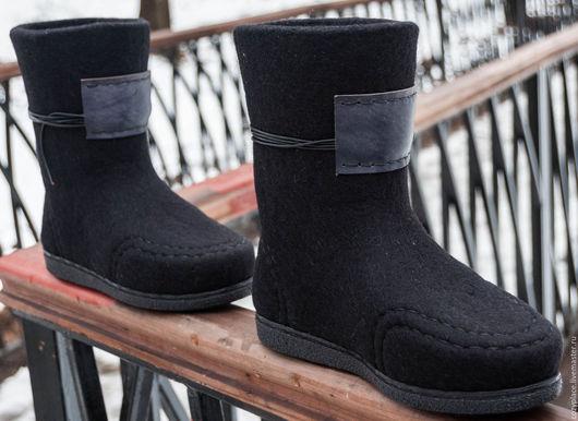 Обувь ручной работы. Ярмарка Мастеров - ручная работа. Купить Валенки на подошве  Style Black. Handmade. Черный, валенки женские