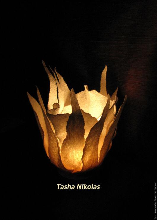 Освещение ручной работы. Ярмарка Мастеров - ручная работа. Купить Светильник - Каменный Цветок. Handmade. Белый, предмет интерьера, шерсть