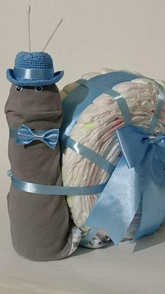 Подарки для новорожденных, ручной работы. Ярмарка Мастеров - ручная работа. Купить Улитка. Handmade. Торт, слип, украшение из лент