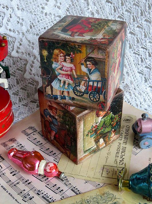 """Детская ручной работы. Ярмарка Мастеров - ручная работа. Купить Кубики """" Рождественские подарки"""". Handmade. Кубики, ретро"""