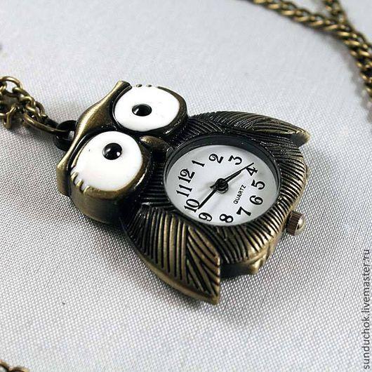 Для украшений ручной работы. Ярмарка Мастеров - ручная работа. Купить Часы с совой для декорирования. Handmade. Хаки, кулон, часы