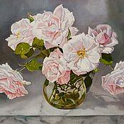 """Картины и панно ручной работы. Ярмарка Мастеров - ручная работа Картина маслом цветы """"Розы в кувшине"""". Handmade."""