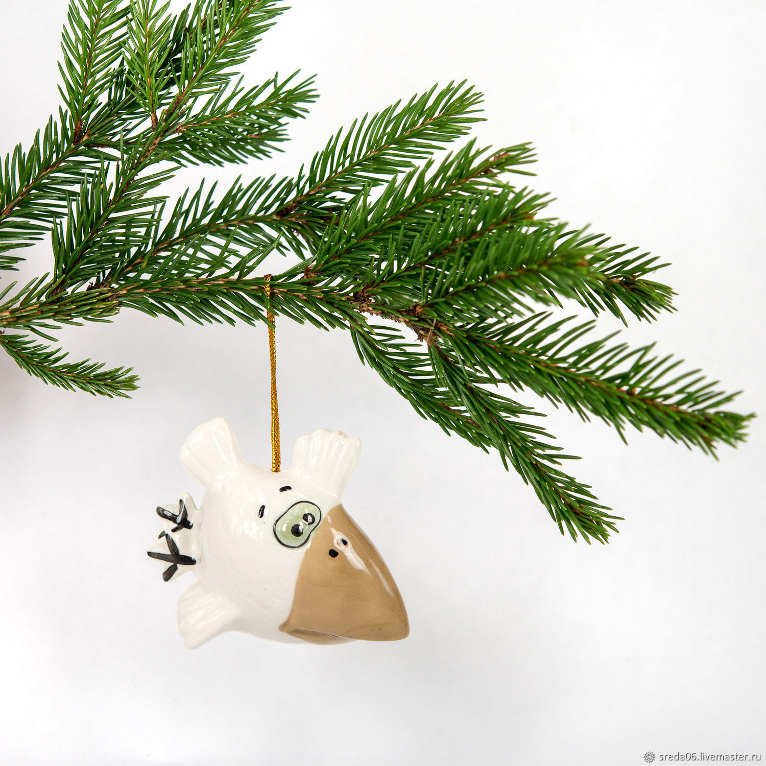 White crow Toy for the Christmas tree, Christmas decorations, Sergiev Posad,  Фото №1