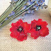 Украшения handmade. Livemaster - original item Stud earrings red poppies . Glass lampwork . silver.. Handmade.
