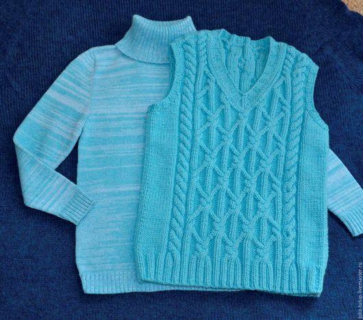 """Одежда для мальчиков, ручной работы. Ярмарка Мастеров - ручная работа. Купить Жилет для  мальчика """"Морские узлы"""". Handmade. Голубой, жгуты"""