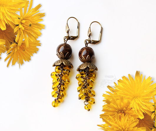 """Серьги ручной работы. Ярмарка Мастеров - ручная работа. Купить Серьги """"Sunflower"""". Handmade. Желтый, бронзит, яркий, чешское стекло"""