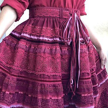 Одежда ручной работы. Ярмарка Мастеров - ручная работа Юбка в стиле бохо из хлопка «Вишня». Handmade.