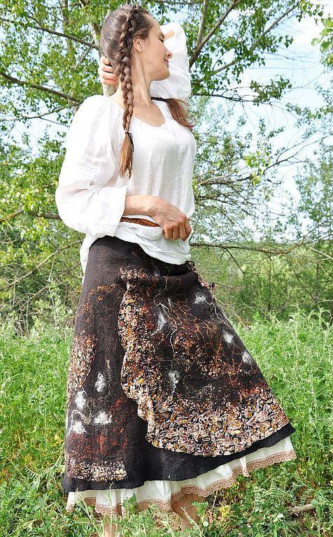 """Юбки ручной работы. Ярмарка Мастеров - ручная работа. Купить Валяная  юбка """"Кофейное настроение"""". Handmade. Коричневый, валяние на каркасе"""