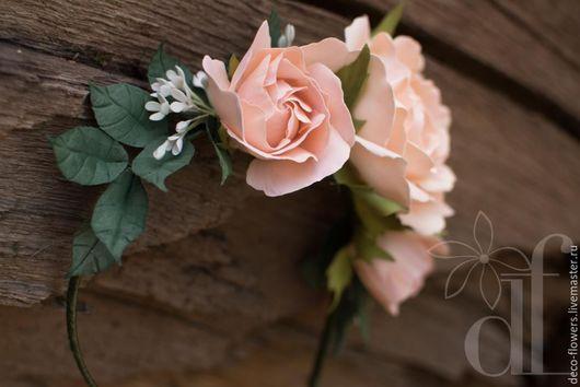 Свадебные украшения ручной работы. Ярмарка Мастеров - ручная работа. Купить Ободок с розами в стиле Бохо. Handmade. Бежевый, розы