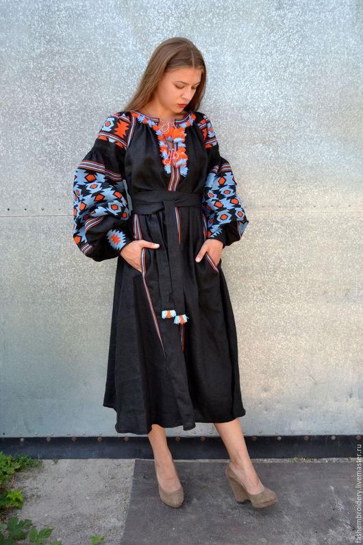 Платья ручной работы. Ярмарка Мастеров - ручная работа. Купить Вышитое платье в стиле Вита Кин . Бохо платье . Вышиванка. Handmade.