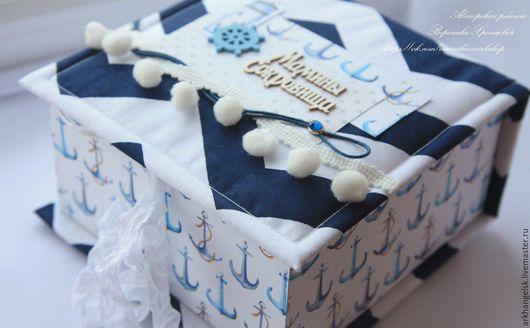 """Подарки для новорожденных, ручной работы. Ярмарка Мастеров - ручная работа. Купить Шкатулка """"Мамины сокровища"""". Handmade. Тёмно-синий, море"""