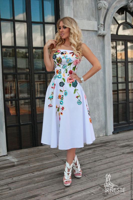 """Платья ручной работы. Ярмарка Мастеров - ручная работа. Купить Платье """"Жизель"""". Handmade. Белый, платье с цветами, Коктейльное платье"""