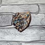 Украшения handmade. Livemaster - original item Brooch Wood shield made of polymer clay. Handmade.