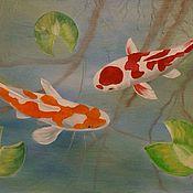 Картины и панно ручной работы. Ярмарка Мастеров - ручная работа Золотые рыбки Кои. Handmade.