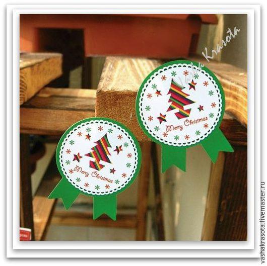"""Упаковка ручной работы. Ярмарка Мастеров - ручная работа. Купить Наклейка """"Новогодняя"""" ЗЕЛЕНАЯ 15 шт. Handmade. Разноцветный, наклейка"""