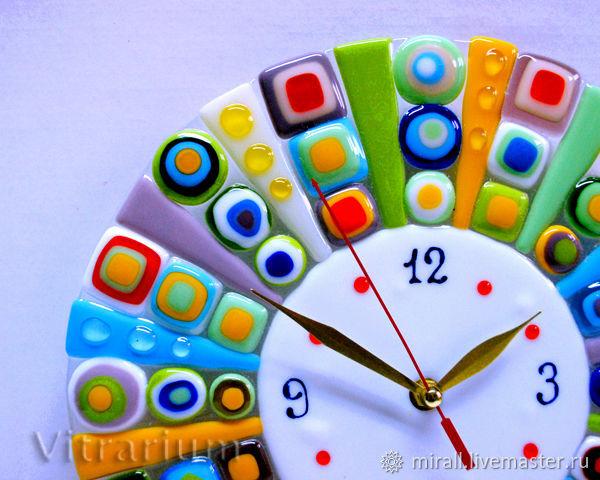Clocks handmade. Livemaster - handmade. Buy Original wall clock 'the Wheel of Fortune', fusing, glass.Watch, bright