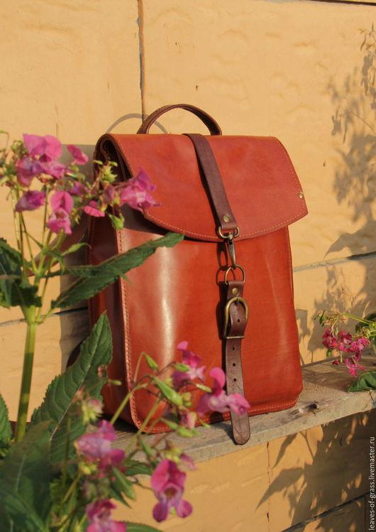 Рюкзаки ручной работы. Ярмарка Мастеров - ручная работа. Купить Городской кожаный рюкзак. Handmade. Рыжий, Карнаубский воск