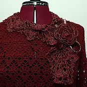 Украшения handmade. Livemaster - original item Brooch scarf, crochet.Cashmere,beads,velvet