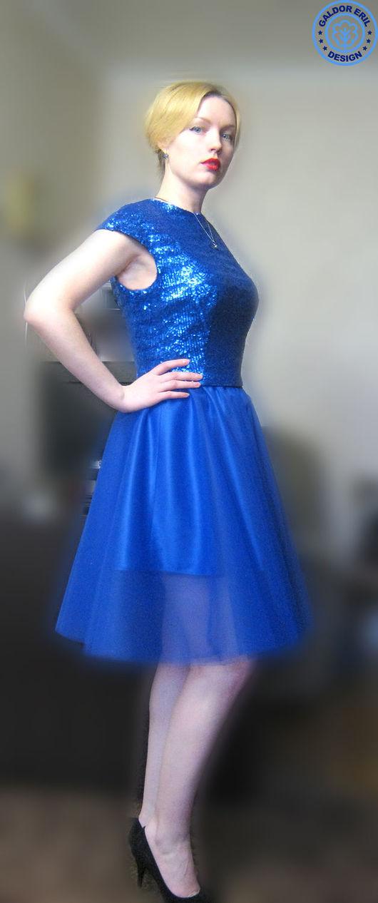 Костюмы ручной работы. Ярмарка Мастеров - ручная работа. Купить Синий костюм блузка+юбка из фатина. Handmade. Тёмно-синий, васильковый
