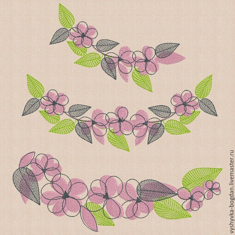 Machine embroidery designs set `Flower set_2` bt036. The size of the hoop 200 x 140 mm. Formats: exp dst pes hus vip vp3 xxx jef