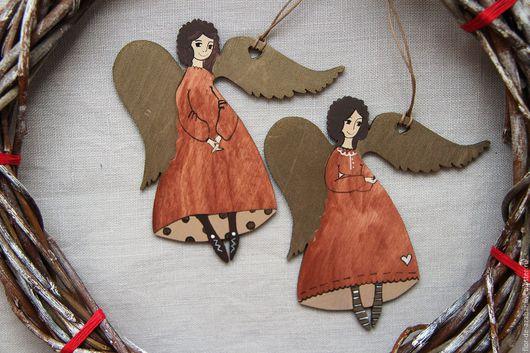 Новый год 2017 ручной работы. Ярмарка Мастеров - ручная работа. Купить Ангелы в красных нарядах. Handmade. Ангел, ангелы, ангелок
