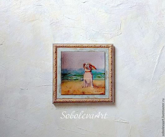 Пес на Пляже, жикле на плитке. Автор Соболева Карина
