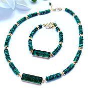 Украшения handmade. Livemaster - original item Necklace and bracelet made of malachite