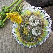 Украшения handmade. Livemaster - original item Linen brooch with painting... dandelions... Boho Ekostil... Handmade.