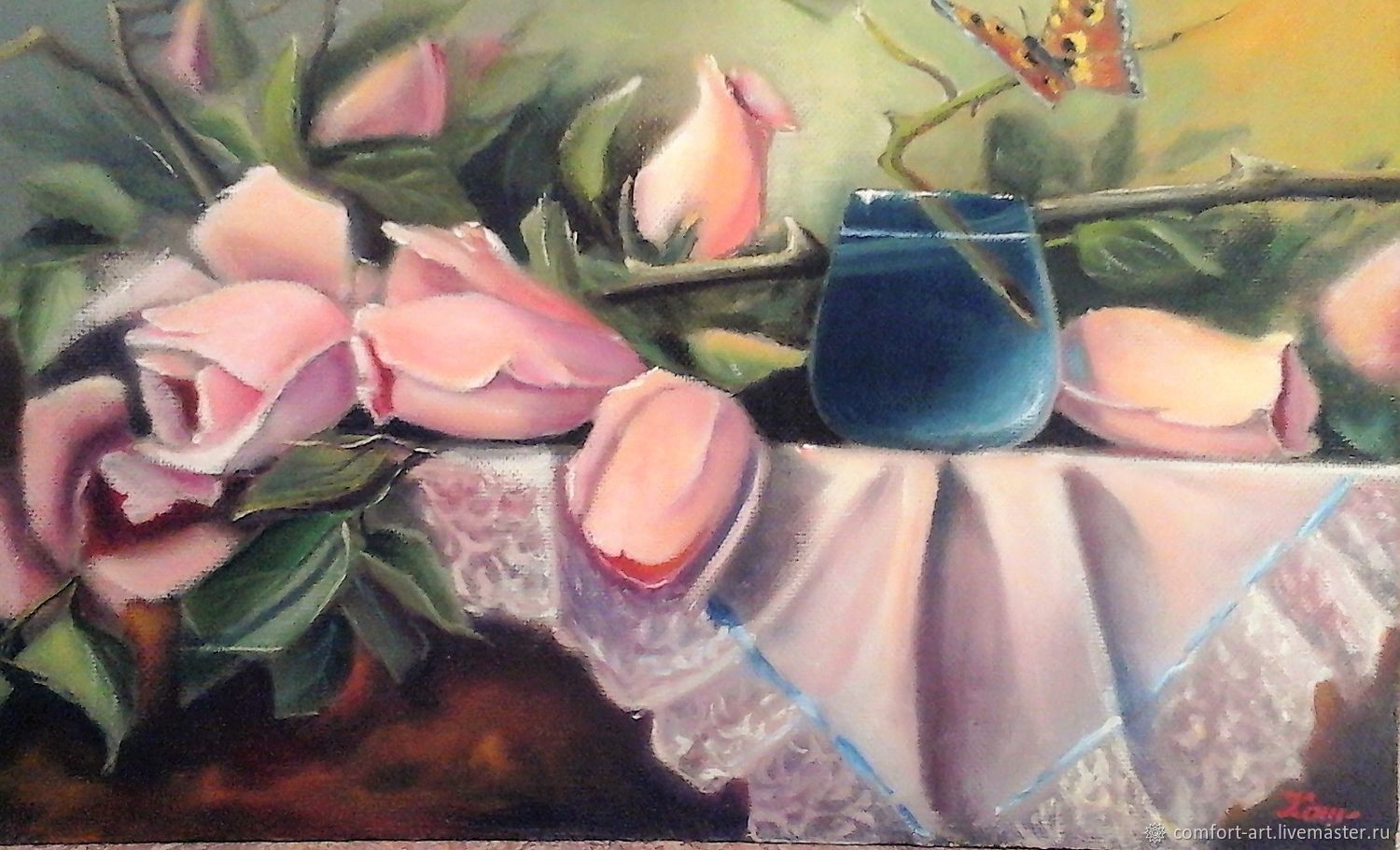 Picture of roses 'still life with roses and blue glass', Pictures, Kamenka,  Фото №1