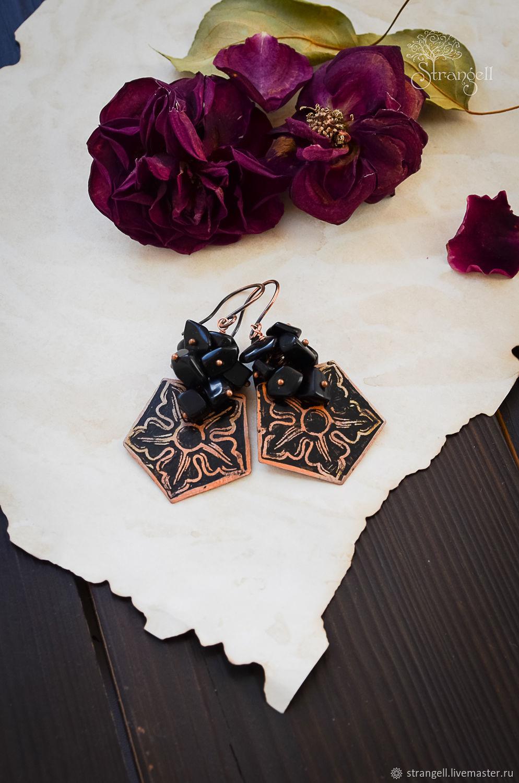 Copper earrings with black obsidian boho geometric Flower earrings, Earrings, Ulan-Ude,  Фото №1