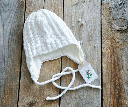 Шапки и шарфы ручной работы. Ярмарка Мастеров - ручная работа. Купить Детская шапочка вязаная спицами. Handmade. Разноцветный