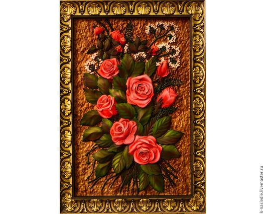 Картины цветов ручной работы. Ярмарка Мастеров - ручная работа. Купить Картина Розы (панно из массива дерева, роспись красками). Handmade.