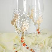"""Свадебный салон ручной работы. Ярмарка Мастеров - ручная работа Свадебные бокалы """"Нежность"""". Handmade."""