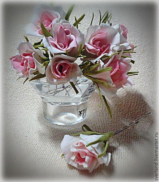 """Заколки ручной работы. Ярмарка Мастеров - ручная работа. Купить Шпильки """"Кустовая Роза"""". Handmade. Подарок, свадьба, пористая замша"""