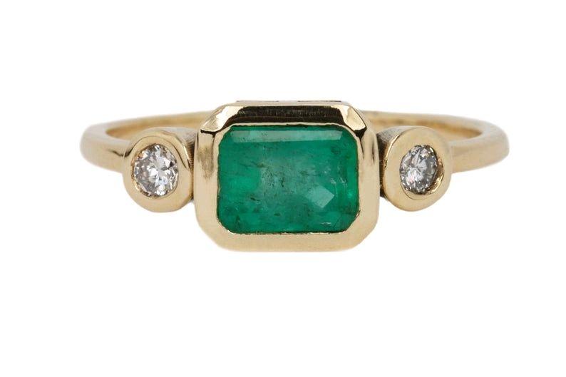 Золотое кольцо с колумбийским изумрудом и бриллиантами весом 1,05 tcw, Кольца, Вест-Палм-Бич,  Фото №1