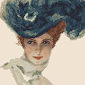"""Материалы для творчества ручной работы. Ярмарка Мастеров - ручная работа Схема вышивки """"Девушка в шляпке"""". Handmade."""