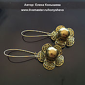 Украшения handmade. Livemaster - original item Earrings bronze openwork. Handmade.