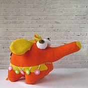 Мягкие игрушки ручной работы. Ярмарка Мастеров - ручная работа Слониха Апельсинка. Слон. Мягкая игрушка. Развивающая игрушка. Handmade.