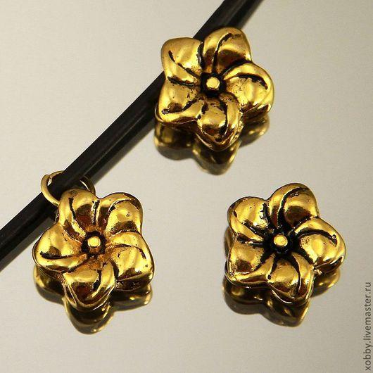 Бусина подвеска металлическая Цветок с покрытием имитация античное золото для использования в сборке украшений
